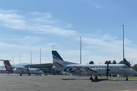 Rex And Qantas Plane Parked on Airside at Albury Airport